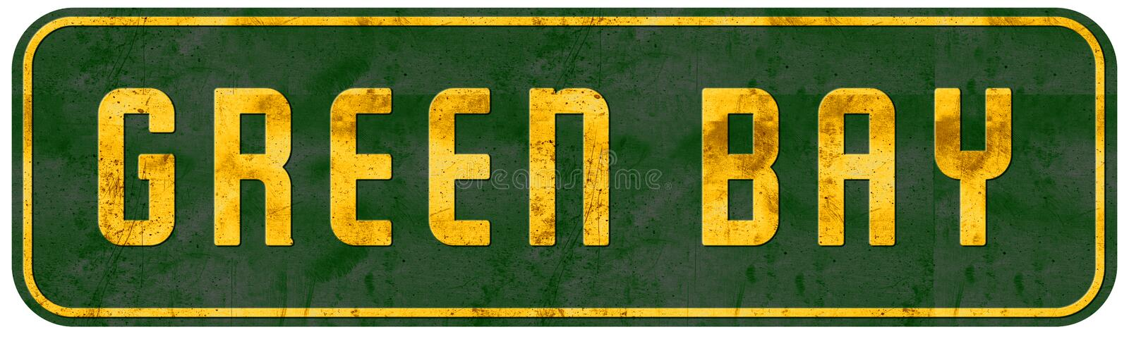 Green Bay Wisconsin Street Sign Yellow and Green. Packers NFL grunge rustic vintage retro antique metal tin royalty free stock photo
