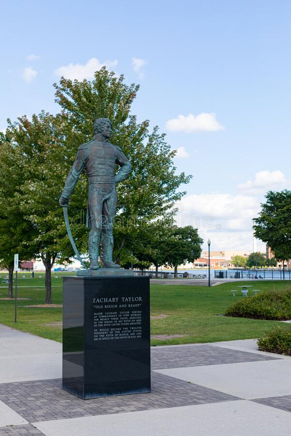 The City of Green Bay. Green Bay, Wisconsin, USA - September 1, 2019: Sculpture of Major Zachary Taylor, former President of the United States stock images