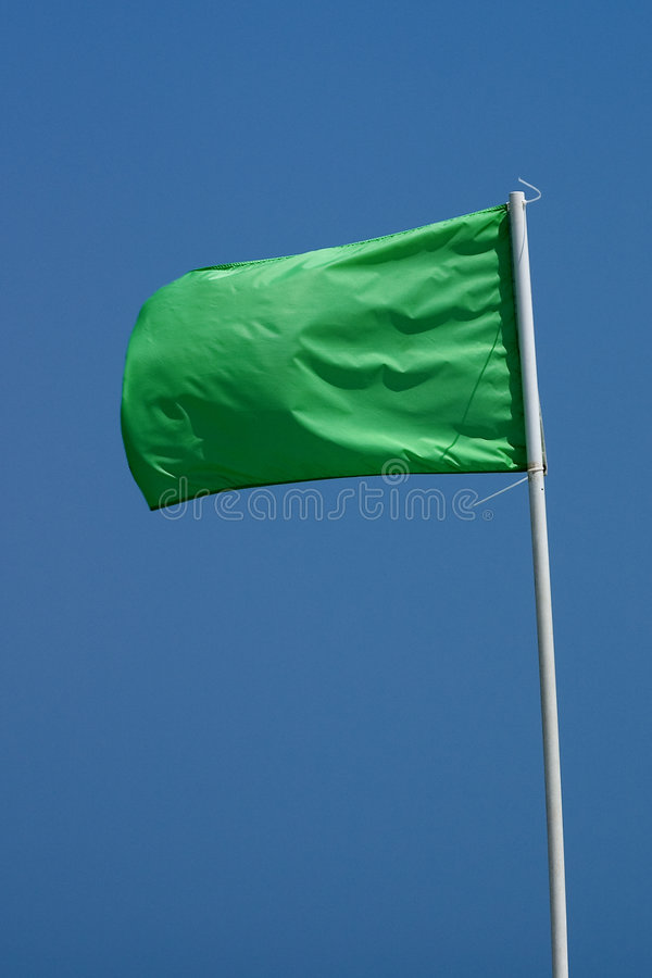 Green Beach Flag stock photo