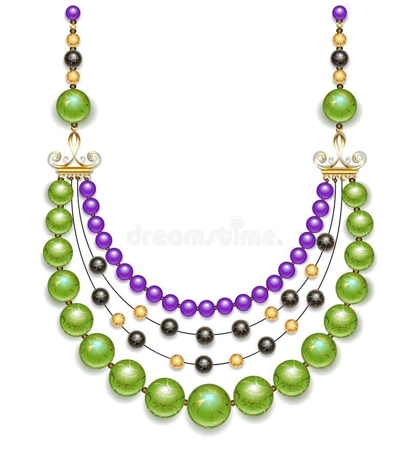 Green beads vector illustration