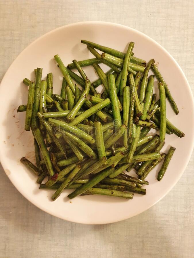 Green bean in a pan, cooking with oyster sauce in thai style, Thai food, thailand stock photos