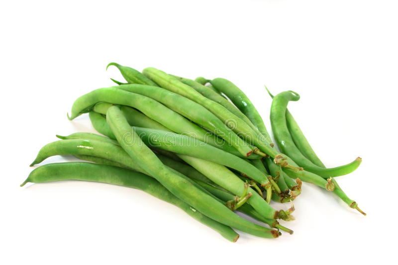 Green Beans. Fresh green beans on a white background stock image