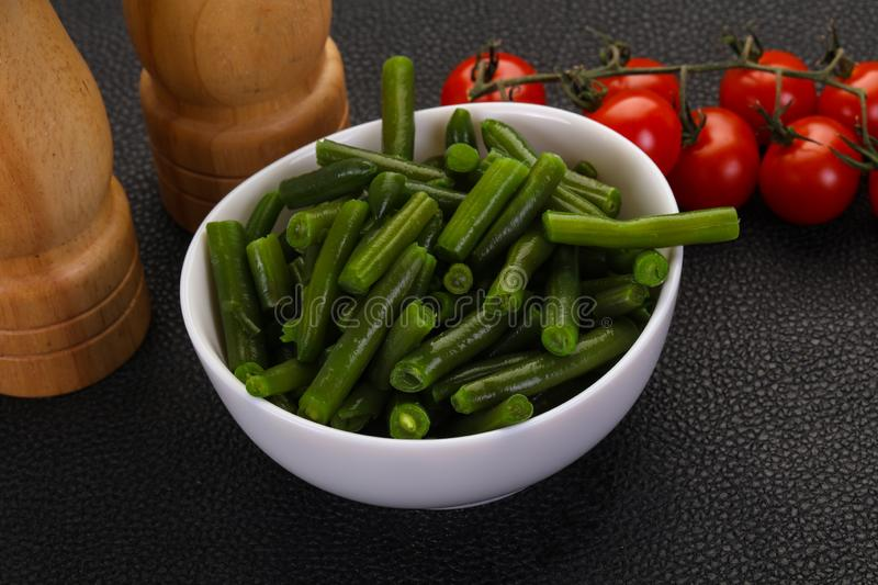 Green beans in the bowl stock photos