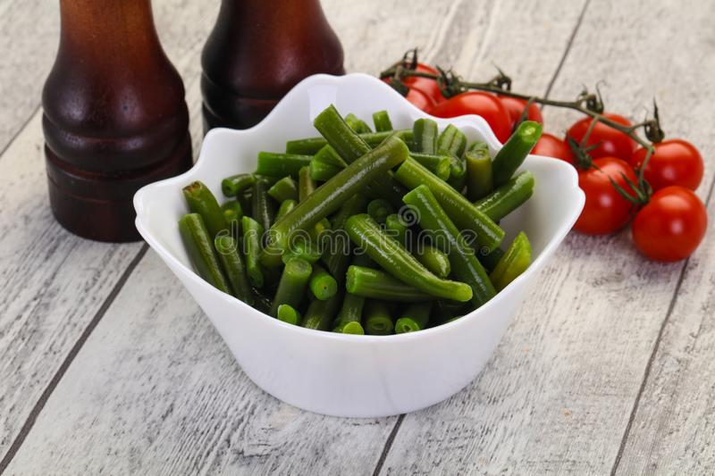 Green beans in the bowl royalty free stock image