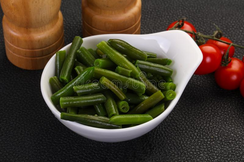 Green beans in the bowl stock images