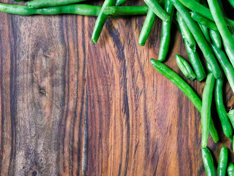 Green beans framing upper right corner royalty free stock photos