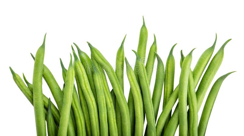 Green beans isolated on a white background. Clipping path. Green beans isolated on a white background royalty free stock photos