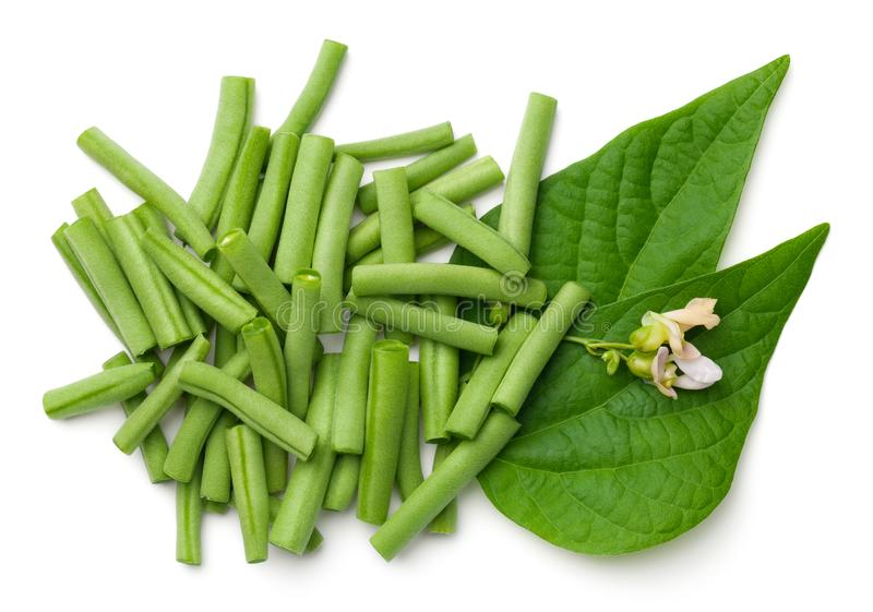 Green Beans Isolated on White Background. Top view stock photography