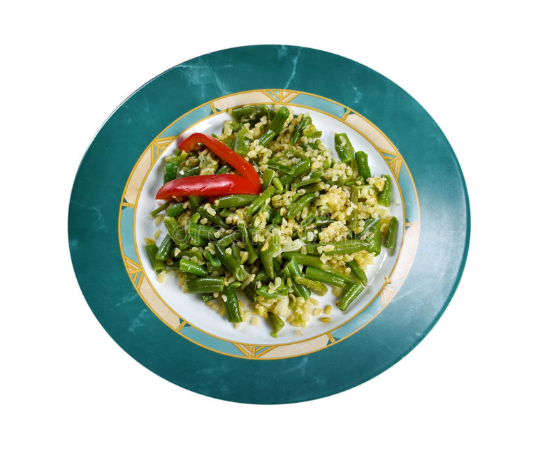 Green beans salad. With Cheese and bulgur. isolated on white background royalty free stock photos