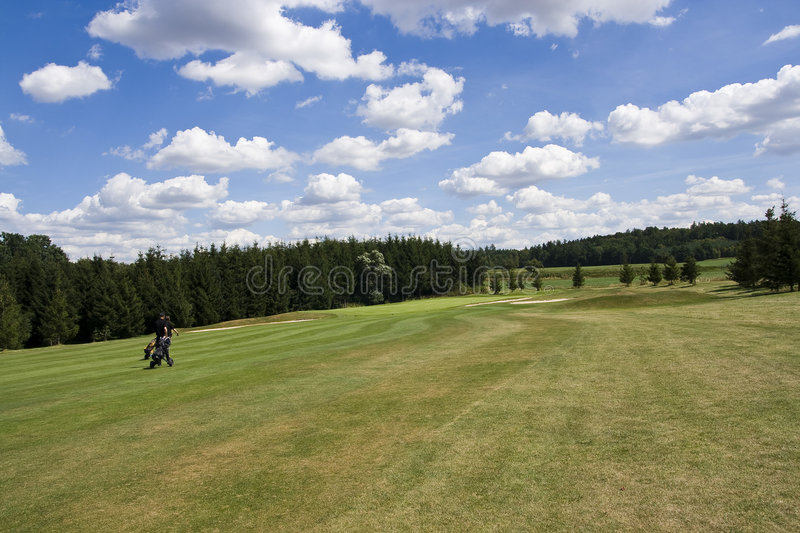 Green of a beautiful golf course royalty free stock photography