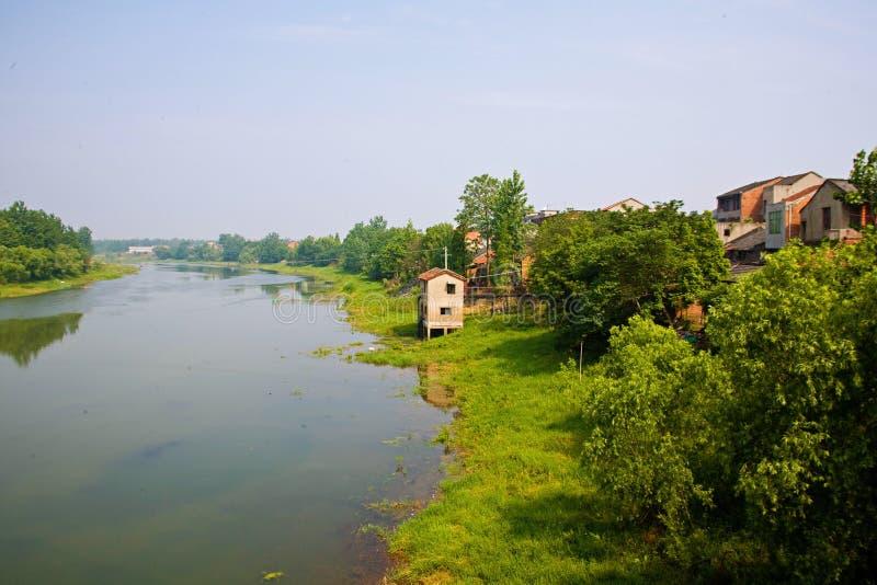 Hubei Xiantao Tong Shun River. Green and beautiful rivers stock photo