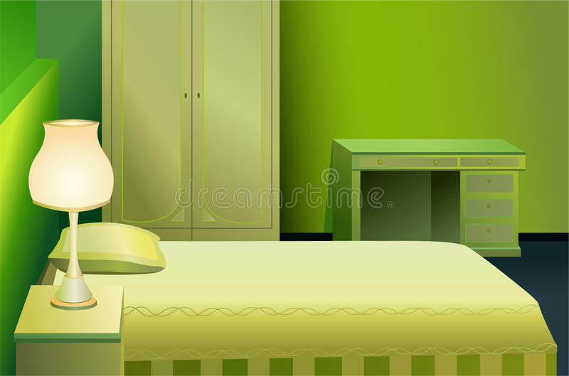 Green bed room vector stock illustration