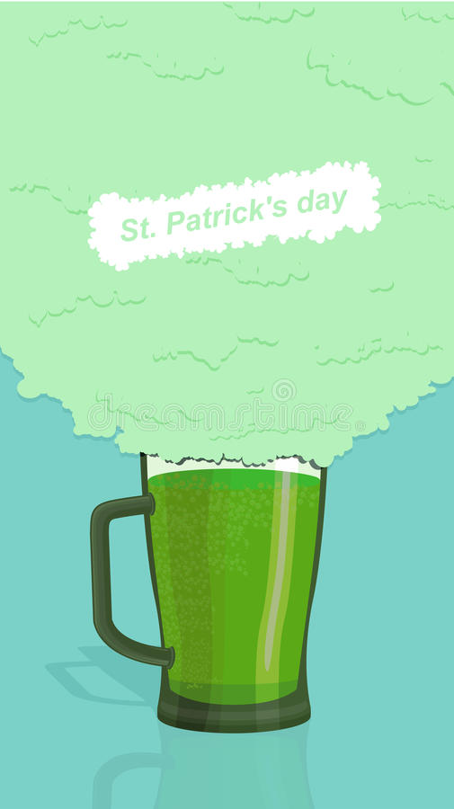 Green beer, ALE. St. Patricks Day poster. royalty free illustration