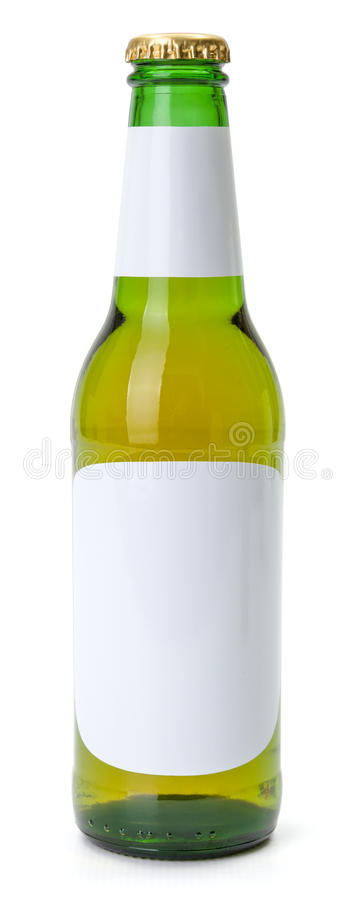 Green beer bottle with white blank labels stock image