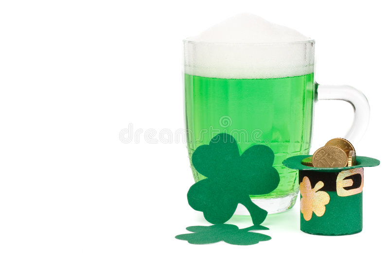 Download Green Beer, Shamrock And Leprechaun Hat With Coins Stock Photo - Image: 8392004