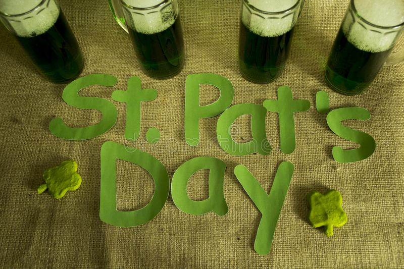 St. Patrick`s Day greetings. Green beer and St. Patrick`s day greetings stock photos