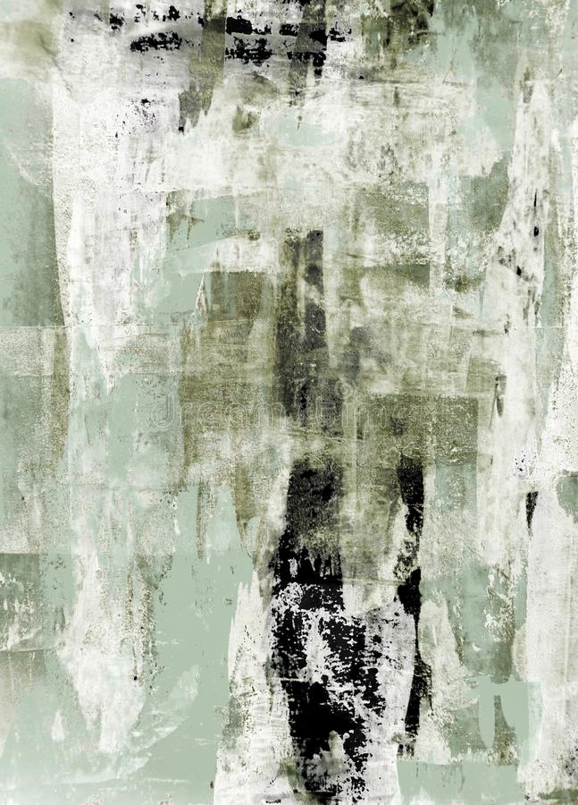 Green and Beige Abstract Art Painting stock photography