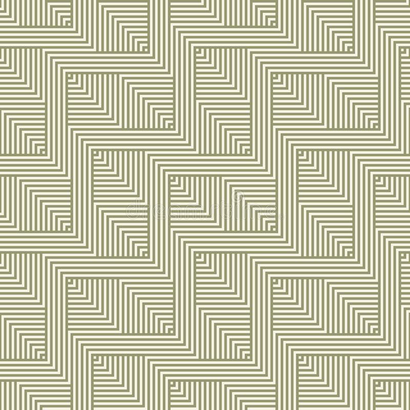 Green and beige geometric seamless pattern with zigzag lines, squares, stripes vector illustration