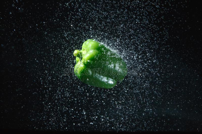 Green bell pepper in water splash on black background.  stock photography