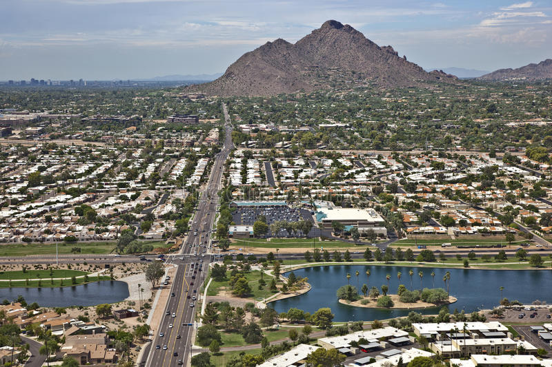 Green Belt, Scottsdale. Green Belt of Scottsdale with Camelback Mountain royalty free stock image