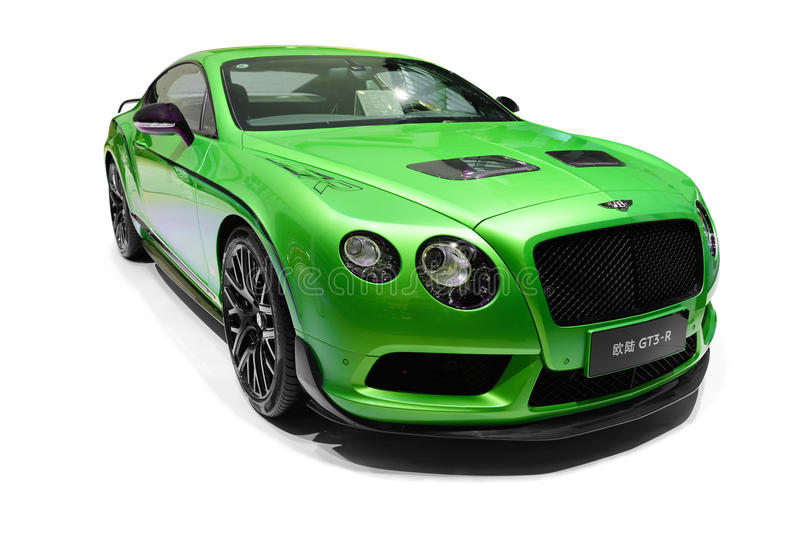A green Bentley car. In white background royalty free stock images