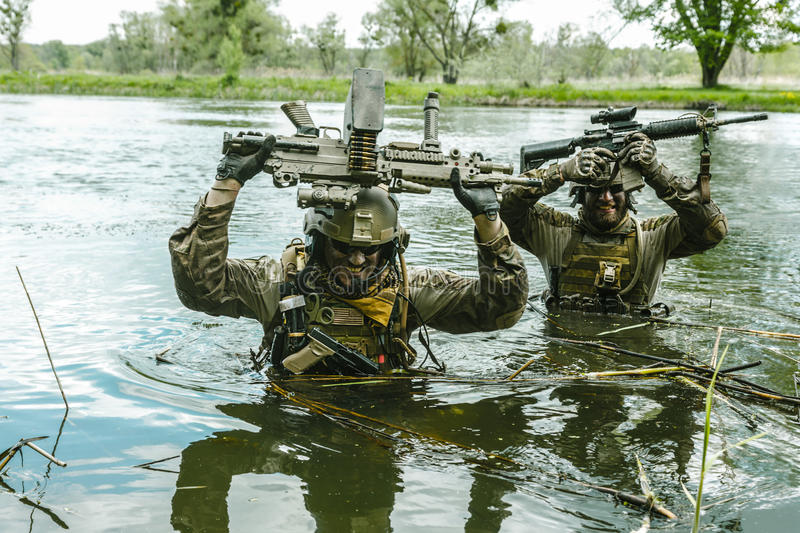 Green Berets soldiers in action royalty free stock image