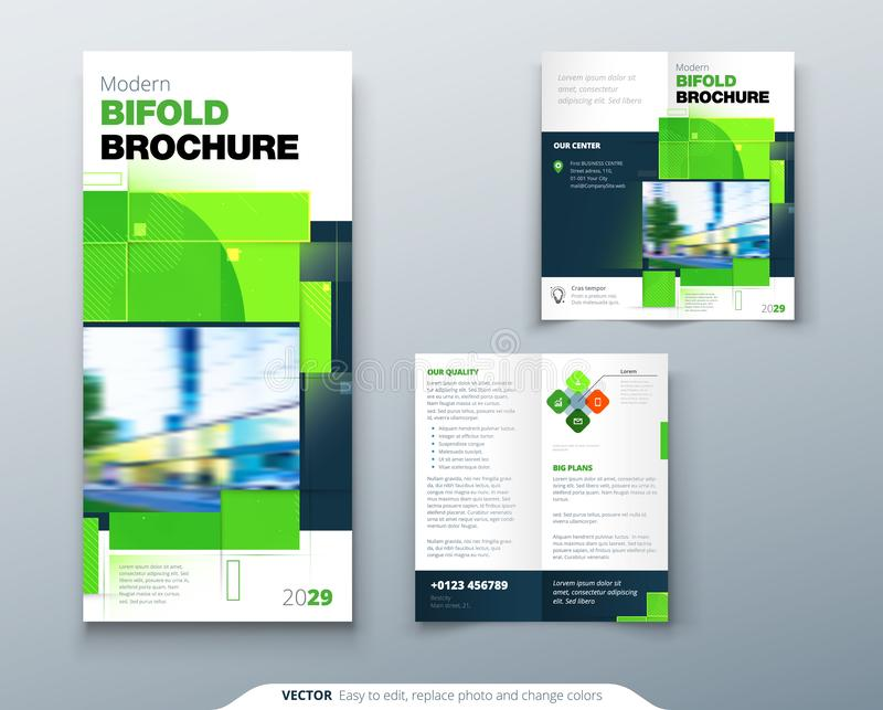 Green Bi Fold Brochure Design with Square Shapes. Corporate business template for bi fold flyer. Creative nature concept. Green Bi Fold Brochure Design with royalty free illustration