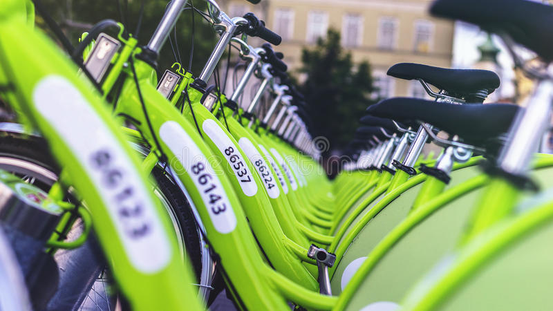 Green Bicycles In Rack Free Public Domain Cc0 Image