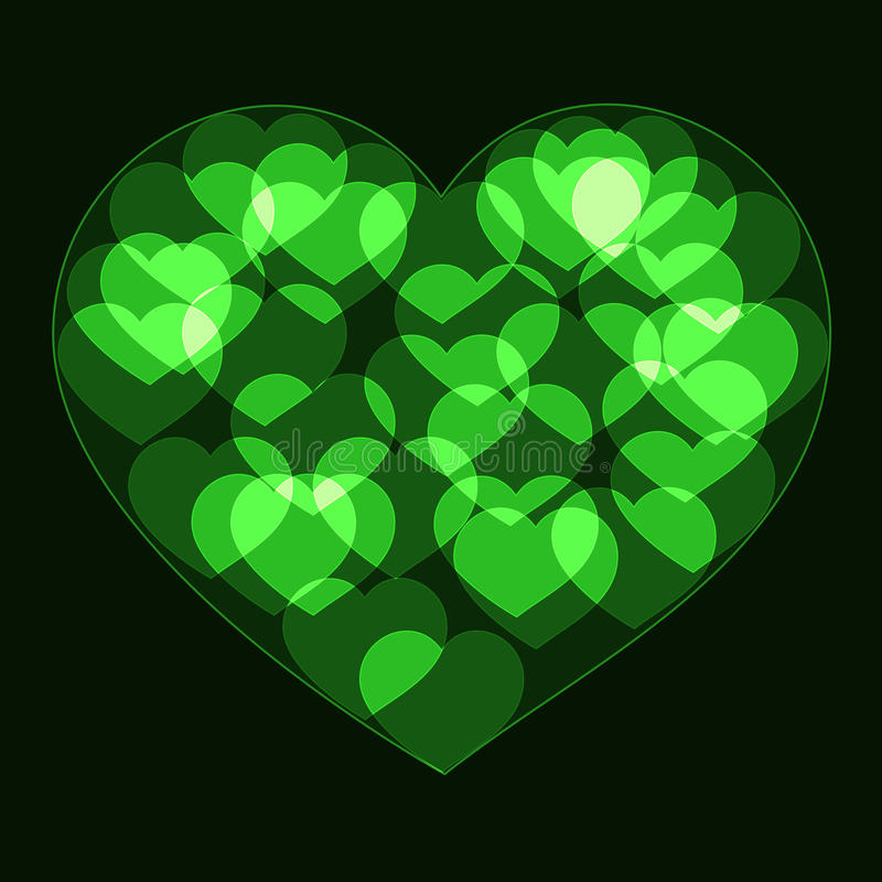 Free Green Big Heart Made Form Small Bokeh Neon Hearts Royalty Free Stock Photo - 85361055