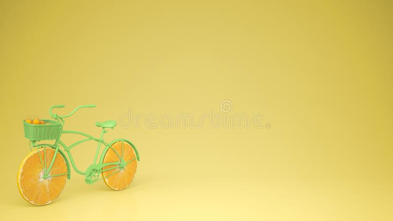 Green bike with sliced orange wheels, healthy lifestyle concept with yellow pastel background copy. Space royalty free illustration