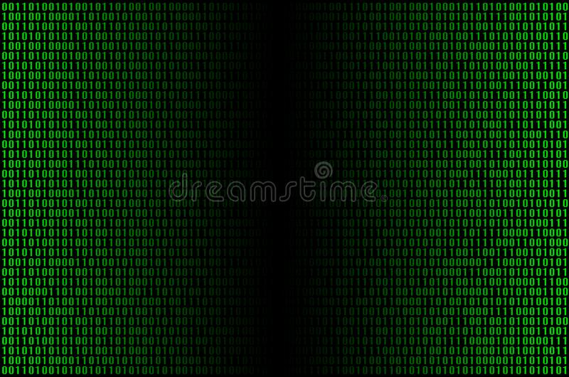 Green binary cod. An image of a binary code made up of a set of green digits on a black background stock photo