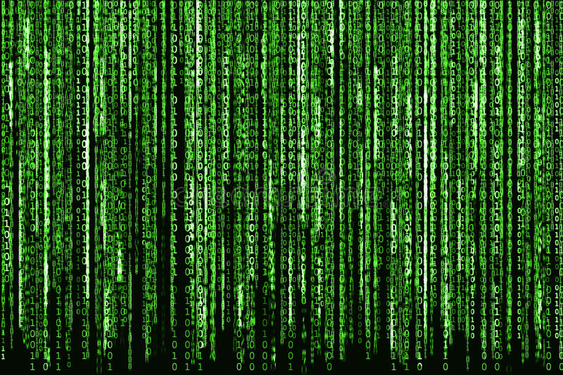Green Binary Code. Big Green Binary code as matrix background, computer code with binary characters shining royalty free stock photo
