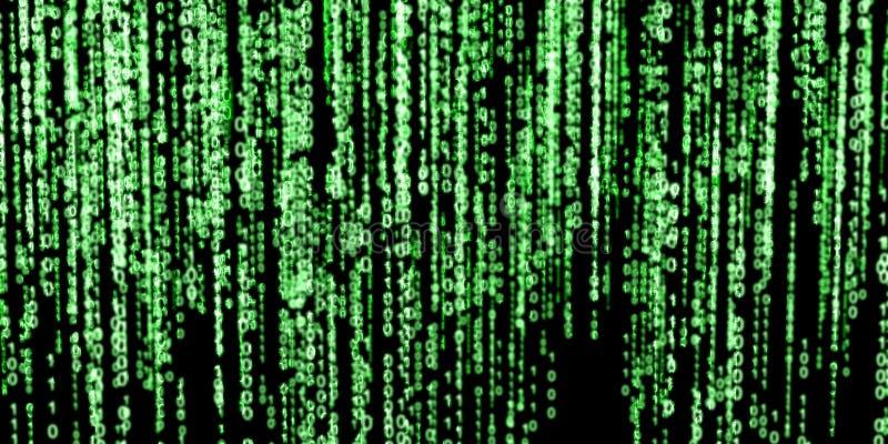 Green binary code on black background vector illustration
