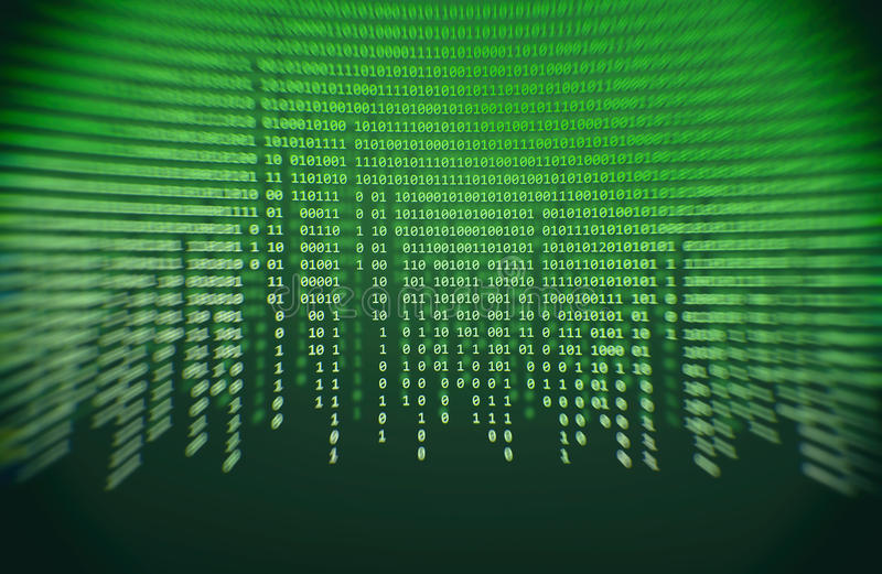 Green binary code stock image
