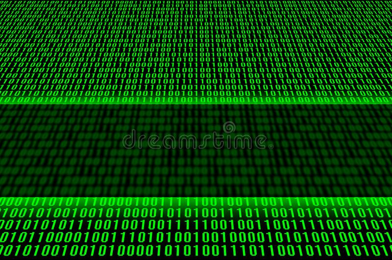 Green binary code. An image of a binary code made up of a set of green digits on a black background. Copy space royalty free stock image