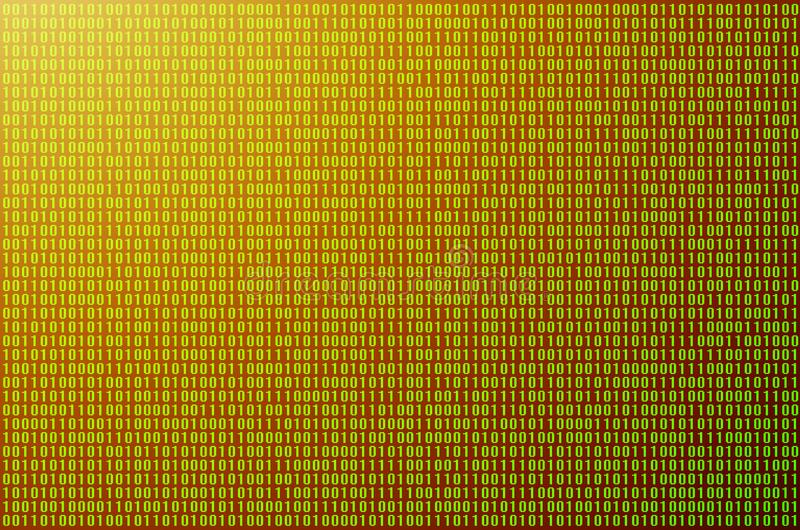 Green binary code. An image of a binary code made up of a set of green digits on a black background. Toned royalty free stock image