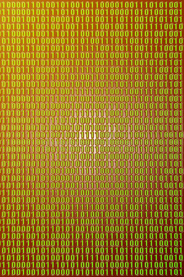 Green binary code. An image of a binary code made up of a set of green digits on a black background. Toned royalty free stock photo