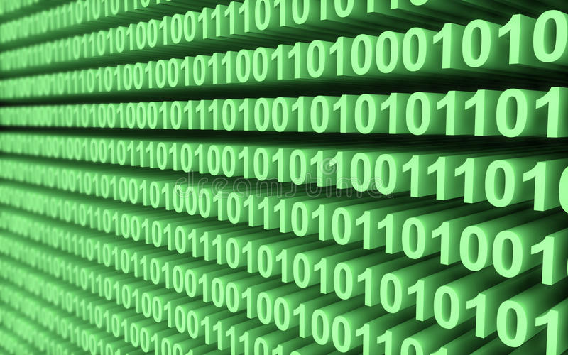Green binary code wall stock photo