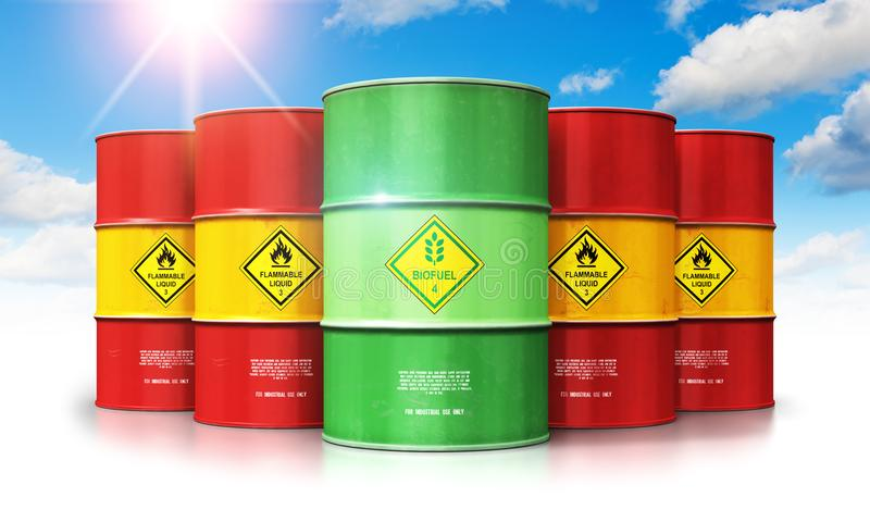 Green biofuel drum in front of red oil or gas barrels against bl vector illustration
