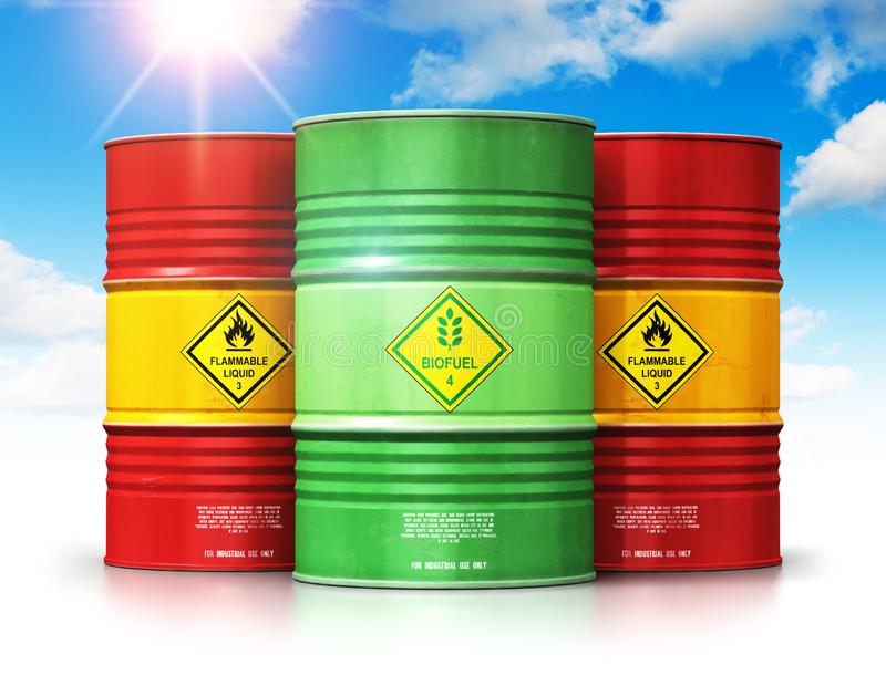 Green biofuel drum in front of red oil or gas barrels against bl stock illustration