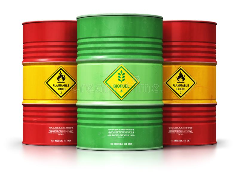 Green biofuel drum in front of red oil or gas barrels isolated o vector illustration