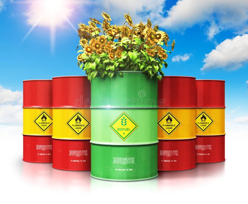 Green biofuel drum with sunflowers in front of red oil or gas ba stock illustration