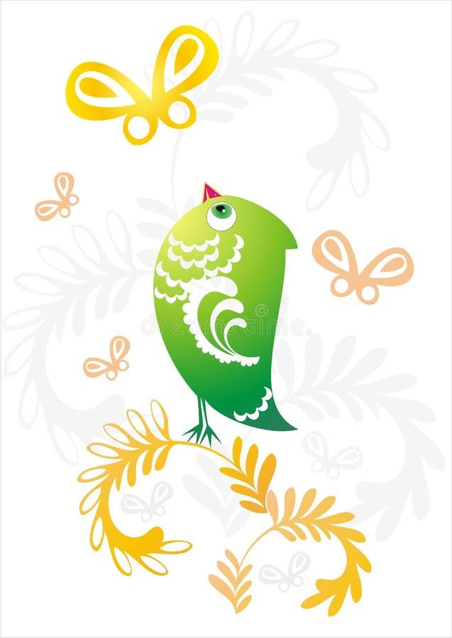 Download Green Bird On Decorative Flower Twig Stock Vector - Image: 23175818