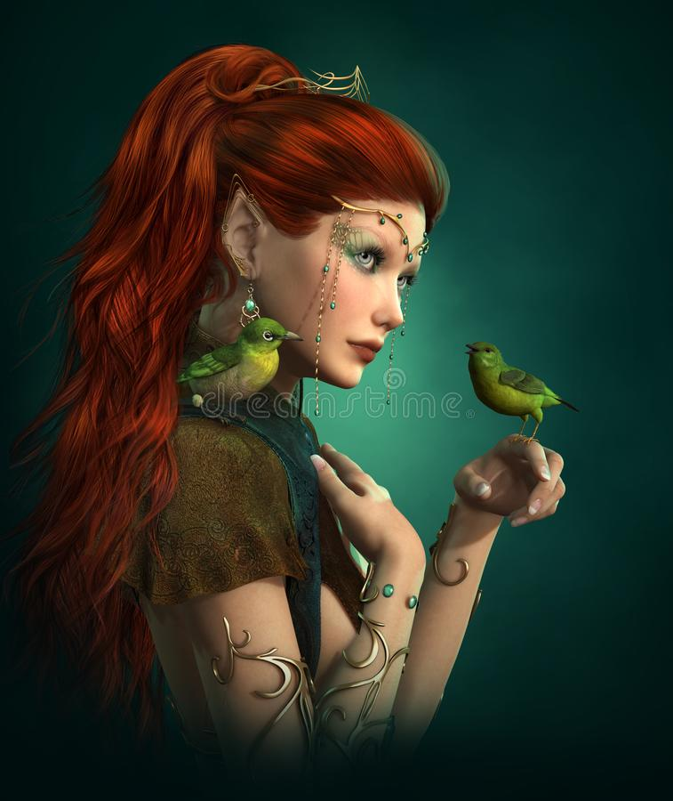 Green Birds, 3d CG stock illustration