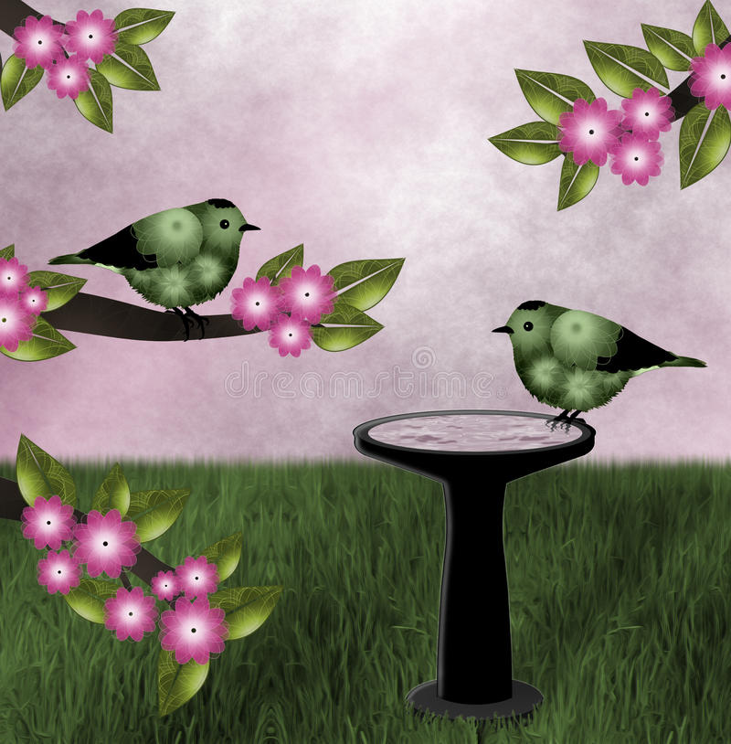 Green Birds, Pink Background royalty free stock images