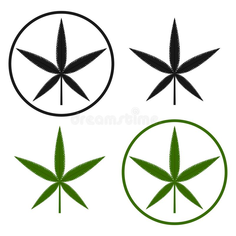 Green and black cannabis leaf on the white bakground. Herbal cannabis. Hemp leaf symbol. Vector illustration. Green and black cannabis leaf on the white stock illustration