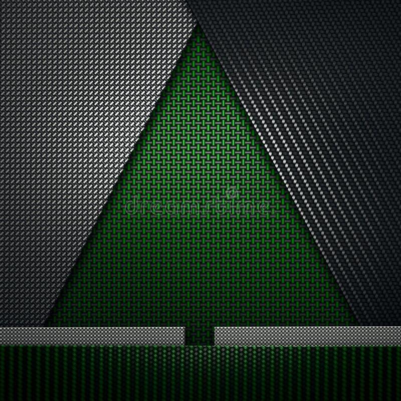 Green black carbon fiber textured fir-tree shape material design. Abstract modern green black carbon fiber textured material design in fir tree shape for royalty free illustration