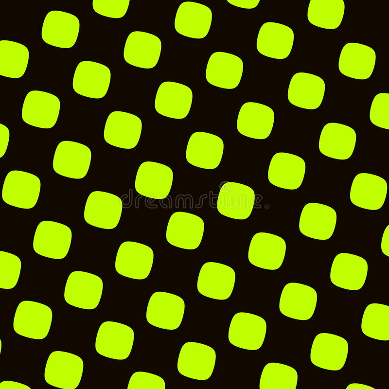 Green Black Checkered Pattern. Round Squares Texture. Abstract Elements. High Contrast Recurring Shapes. Pop or Cartoon Effect. stock illustration
