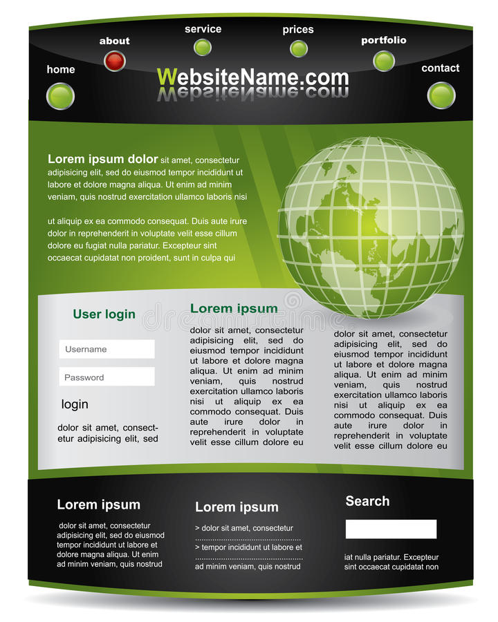 Download Green And Black Editable  Website Template Stock Vector - Image: 19137450