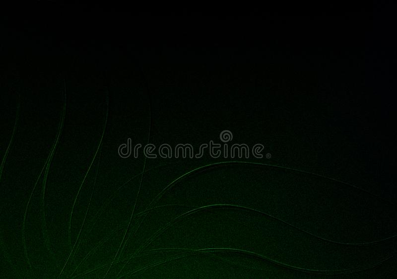 Green on black floral textured background design for wallpaper stock photography
